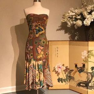 Nanette Lepore Silk Butterfly Strapless Dress 6